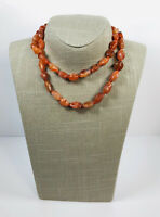 Vintage Carnelian Agate Necklace Hand Knotted Beads Barrel Clasp Pretty Costume
