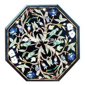 Marble Coffee Top Table Beautiful Parrot Malachite Floral Inlay Home Decors M067