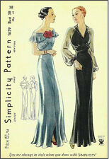 1939 Vintage Sewing Pattern B38 EVENING DRESS (R959)