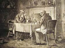 MEN at CHRISTMAS DINNER HAM & WINE 1872 FOOD Art Matted