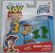 Disney Pixar Toy Story 3 Waving Woody and Green Army Men Buddy Pack Action Links