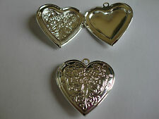 Large Heart Double Photo Lockets In Silver & Gold Tone Size 30mm x 30mm