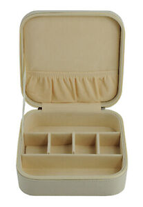 TIMELYBUYS Beige Saffiano 3 Compartment Sunglass Travel Case & Jewelry Box