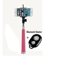 New Pink Extendable Wireless Bluetooth Selfie Stick Monopod for Android Iphones