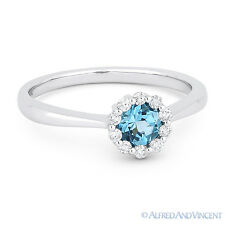 0.56 ct Round Cut Blue Topaz Gemstone & Diamond Halo 14k White Gold Promise Ring