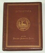 ACROSTICS by the HITCHIN ACROSTIC CLUB - 1868