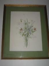 "Framed Mary Lou Goertzen Wildflowers Columbine Iris Daisy Jar Lithograph 21""x17"""