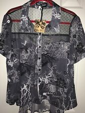 Women's Spin Doctor Rockabilly Cobweb Netting Button Down Blouse NWT Size 14