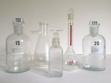 VINTAGE MID CENTURY CHEMISTRY LAB GLASS BEAKER BOTTLE FLASKS - COLLECTION OF 5