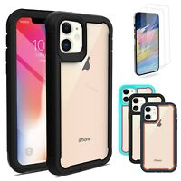For iPhone 12 Pro Max Heavy Duty Bumper Cover Hybrid Armor Case+Screen Protector
