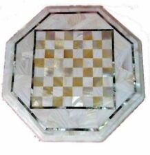 """12"""" Marble Chess game Coffee Table Top Pietra Dura Work Decor"""
