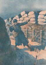 K1048 Lanciatore di granate - Trincea - Stampa d'epoca - 1916 Old print