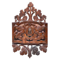 Antique Victorian Carved Walnut Foliage Wall Hanging Mail Letter Holder