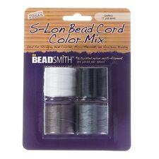 Beadsmith S-Lon Bead Cord Twisted Nylon Darks Mix Pack of 4 70m spools (B47/1)