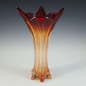 Murano / Venetian Red & Amber Sommerso Glass Vintage Vase