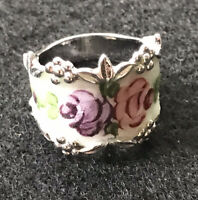 Vintage ESPO Sterling Silver Enameled Ring Guillioche Pink Purple Rose Size 6