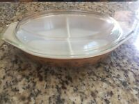 Vintage Pyrex 1.5 Qt Brown Gold Casserole Dish w/Lid Early America Design
