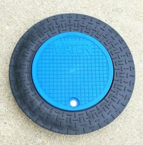 "Polymer Water Meter Box Lid/Ring w/12.5"" BLUE locking lid for 18"" Pipe/Meter Pit"