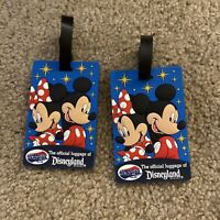 LOT OF 2 MICKEY & MINNIE MOUSE THE OFFICIAL LUGGAGE TAG OF DISNEYLAND RESORT