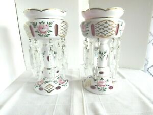 BOHEMIAN CZECH WHITE CUT TO CRANBERRY MANTLE LUSTERS PAIR OF 2