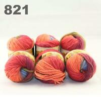 Sale New 6 Skeins x50gr Rainbows Multicolor Hand Knit Wool Yarn Wrap Scarves 21