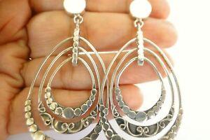Plain Silver No Stone Statement Chandelier 925 Sterling Silver Dangle Earrings
