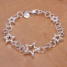 925 Silver Stars Bangle Bracelet -UK SELLER-