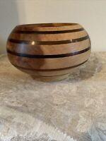 Mahogany Wood Bowl With Inlaid Acrylic Bands Signed Wood Studio Art Modernist