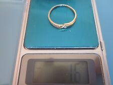 STONE Ring 1,6g Gold 585 mit kleinem Diamant 2mm und weißen Steinen 19mm