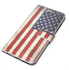 For iPhone 6+ / 6S+ Plus - Leather Card Wallet Pouch Case USA American Flag