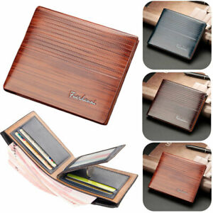 Mens Luxury High Quality Brown Leather Bifold Credit Card Holder Wallet Gift NEW