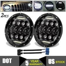 "Pair 7"" inch 600W LED Headlights Hi/Lo Sealed Beam For JEEP Freightliner Century"