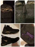 """Nike LeBron 16 XVI Youth Size 5Y Boys """"I Am King"""" Black Gold AQ2465-007 Flaw"""