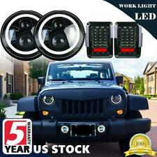 7'' inch LED Headlight Hi/Lo DRL Angel Eye+Tail Light for Jeep Wrangler JK 07-17