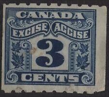 Canada VanDam # FX47 3c blue Excise Tax Revenue perf 8 coil Stamp of 1915