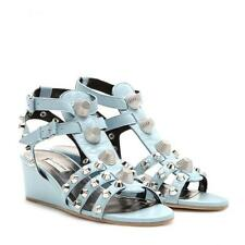 $940 Balenciaga sandals spikes studded leather blue wedges shoes w RECEIPT 38 8