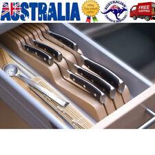 In-Drawer Knife Storage Block Rest Bamboo Kitchen Cutter Stand, Organiser Holder