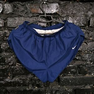 Nike Vintage Running Shorts Navy Blue Dry Fit Embroidered Logo Polyester Mens M