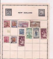 15 NEW ZEALAND + COOK ISLAND stamps on an album page.