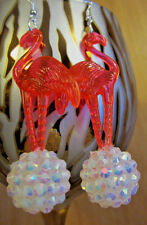 Ugly Tacky Sweater BIG PINK FLAMINGO 70s & 80s  EARRINGS Pearl White DISCO BALL