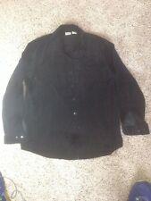 Womens L.L. Bean Velour Button Down Shirt Medium Black Ked