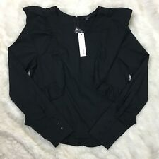 Drew Women's Size Small Black Ruffle Structured Top