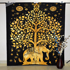 Indian Queen Size Elephant Print Wall Hanging Tapestry Decorate Bedspread Hippie
