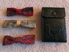 Vintage Boys Bow Ties (3) + Embossed Horse Saddle Wallet