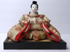 Antique Hina Ningyo Japanese Emperor Doll Sitting On A Wood Platform Stand