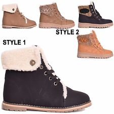 Ladies Womens Winter Army Combat Flat Fur Lined Grip Sole Ankle Boots Size 3-8