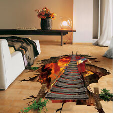 3D Flaming Floor Wall Stickers Removable Mural Decals Vinyl Art Living Room