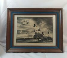 Spoonbills Flying Signed Lithograph in Frame Victoria Hutson Huntley 1948