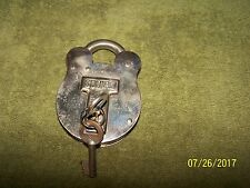 Antique Squire Old English SolId Brass Padlock & Keys