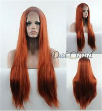 Lace Front Wigs Copper Red Hair Glueless Long Straight Heat Resistant Synthetic